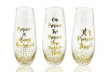 3pc Prosecco Stemless Flute Set